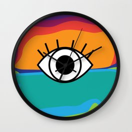 Bright Rainbow Eye Design Wall Clock