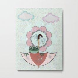 Rainy Day Frog Children's Art Metal Print
