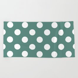 Wintergreen Dream - green - White Polka Dots - Pois Pattern Beach Towel