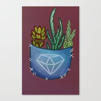pocket Canvas Prints featuring Pocket Series: Succulent Pocket by Fourd Simkins