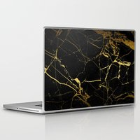 black and gold Laptop & iPad Skins featuring Black & Gold by Coconuts & Shrimps