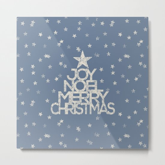 Joy-Noel-Merry Christmas- Typography and stars on fresh wintry grey Metal Print