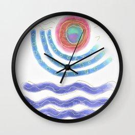 Sun and Sea Abstract Digital Painting Wall Clock