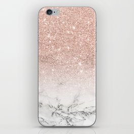 Modern faux rose gold pink glitter ombre white marble iPhone Skin