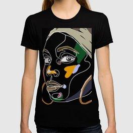 black military woman portrait popart T-shirt