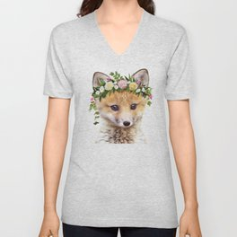 Baby Fox With Flower Crown, Baby Animals Art Print By Synplus Unisex V-Neck