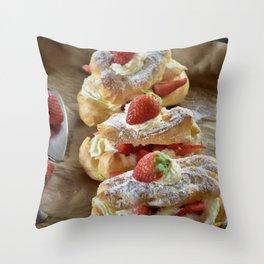 Strawberry Eclair Throw Pillow