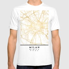 MILAN ITALY CITY STREET MAP ART MEDIUM Mens Fitted Tee White