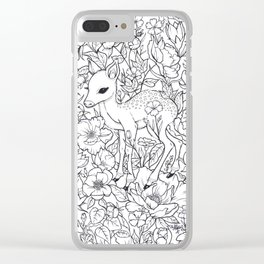 Fawn in a Floral Dream Clear iPhone Case