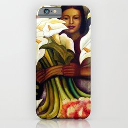 1938 Classical Masterpiece 'Alcatraces Flower Seller' by Diego Rivera iPhone Case