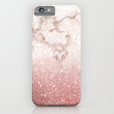 Elegant Faux Rose Gold Glitter White Marble Ombre Slim Case iPhone 6