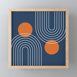 Mid Century Modern Geometric 83 in Navy Blue and Burnt Orange (Rainbow and Sun Abstraction) Framed Mini Art Print