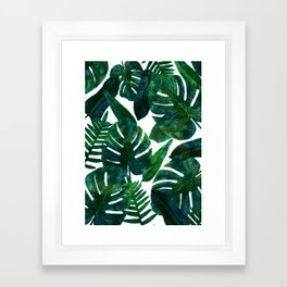 Tropical Nature Monstera Watercolor Painting, Botanical Jungle Dark Palm Illustration Framed Art Print