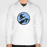snowboarding Hoodies featuring snowboarding 3 by Paul Simms