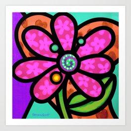 Pinwheel Daisy in Pink Art Print