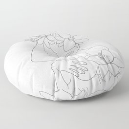 Minimal Line Art Woman with Flowers VI Floor Pillow