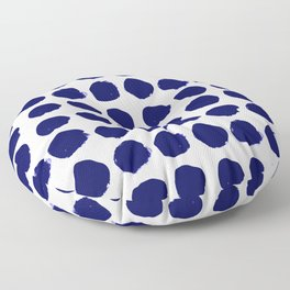 Aria - indigo brushstroke dot polka dot minimal abstract painting pattern painterly blue and white  Floor Pillow