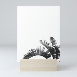 Palm leaves black and white tropical watercolor Mini Art Print