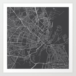 Copenhagen Map, Denmark - Gray Art Print