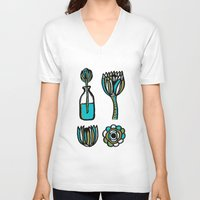succulents V-neck T-shirts featuring Succulents by Marginalink