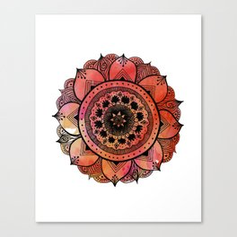 Hand Drawn Mandala Print | Bright Red Mandala Print | Aztec Mandala | Zentangle Mandala | Mandala  Canvas Print