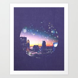 Minneapolis Minnesota Surreal Skyline in the Clouds Art Print