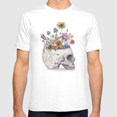 Half Skull Flowers White SMALL Mens Fitted Tee
