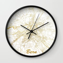 Bern Map Gold Wall Clock