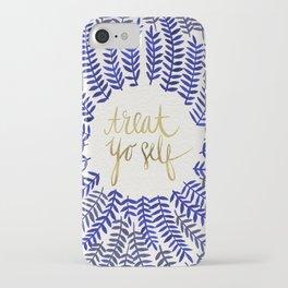 Treat Yo Self – Gold & Navy iPhone Case