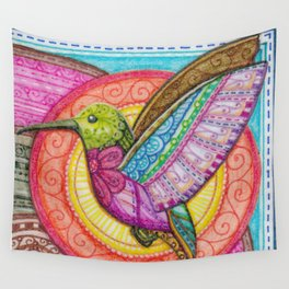 Stitched Hummingbird Wall Tapestry