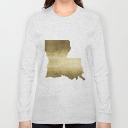 louisiana gold foil state map Long Sleeve T-shirt