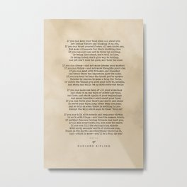 Rudyard Kipling, If - Typewriter Quote On Old Paper - Literary Poster - Book Lover Gifts Metal Print