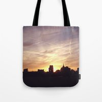 nashville Tote Bags featuring Nashville Skyline by  Dreambox Designs
