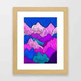 The night time hills Framed Art Print
