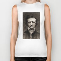 edgar allan poe Biker Tanks featuring EDGAR ALLAN POE by Jason Seiler