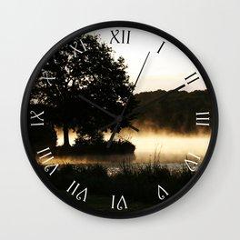 Morning Lake Scene Script Roman Numbers Wall Clock Wall Clock