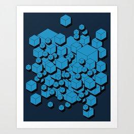 3D Futuristic Cubes VIII Art Print