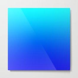 Aqua Blue Bright Ombre Metal Print