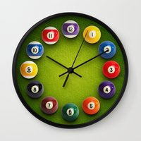 novelty Wall Clocks featuring Billiards Snooker Novelty Clock by KittyBitty