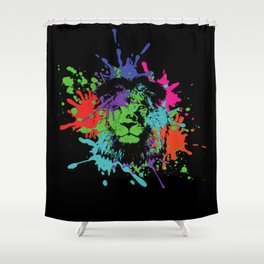 Lion Pop Art , African Lion Pop Art with colorful spots and splashes Shower Curtain