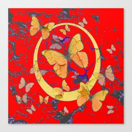 SHABBY CHIC GOLDEN BUTTERFLIES & RED ABSTRACT ART Canvas Print