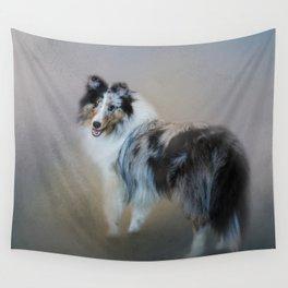 Did You Call Me - Blue Merle Shetland Sheepdog Wall Tapestry
