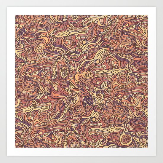 Abstract colorful hand drawn curly pattern design Art Print