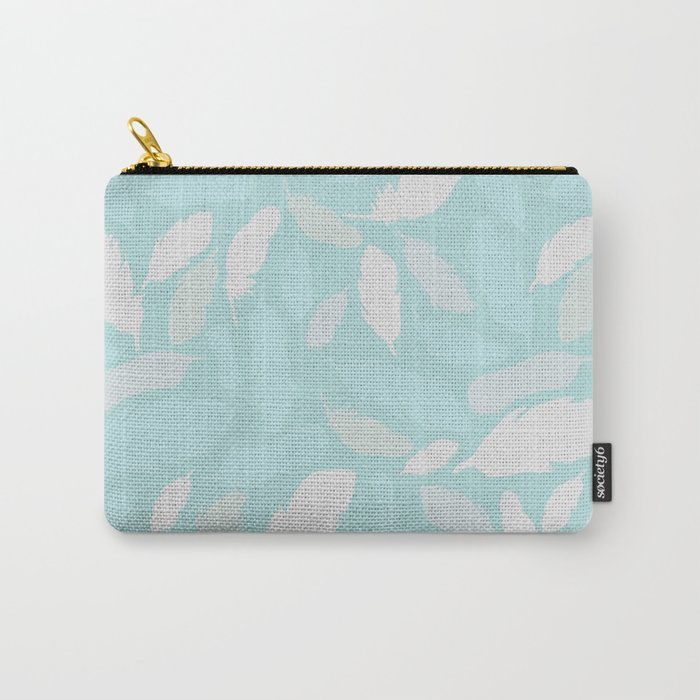 Feather Pattern Mint Carry-All Pouch