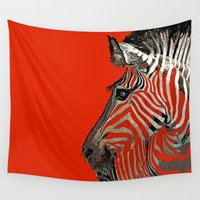 zebra Wall Tapestries featuring Zebra  by Saundra Myles