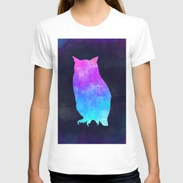 OWL IN SPACE // Animal Graphic Art // Watercolor Canvas Painting // Modern Minimal Cute T-shirt