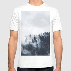 Dark misty forest Mens Fitted Tee MEDIUM White