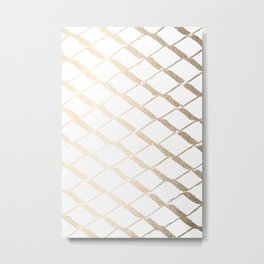 Luxe Gold Diamond Lattice Pattern on White Metal Print