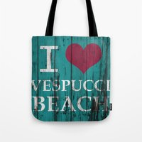 grand theft auto Tote Bags featuring Los Santos I love Vespucci Beach Grand Theft Auto by KeenaKorn