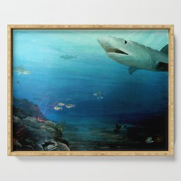 Shark Swimming by Fish in the Ocean Serving Tray
